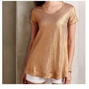 Anthropologie Bordeaux metallic top in copper